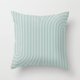 Minimal Line Curvature - Sage Throw Pillow