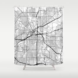 Fort Worth Map White Shower Curtain