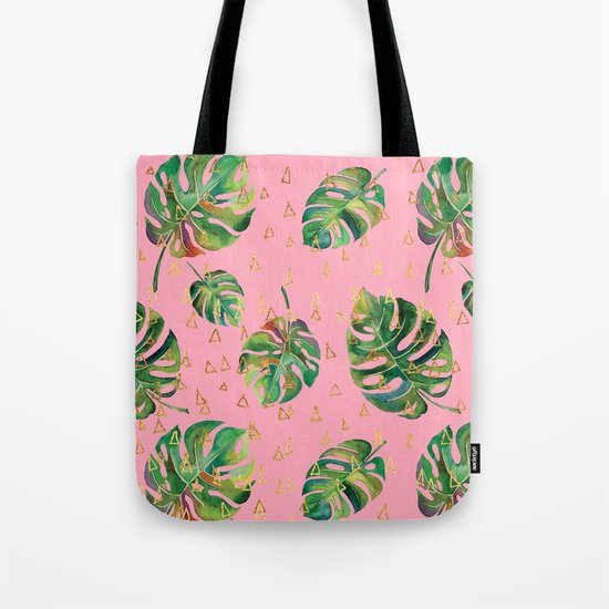 Monstera Gold // Monstera Pattern, Gold Foil Pattern, Lifestyle Digital Collage Pink Tote Bag