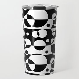 Black White Geometric Circle Abstract Modern Print Travel Mug
