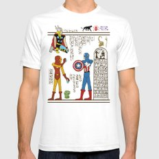 hero-glyphics: Avengers Mens Fitted Tee White SMALL