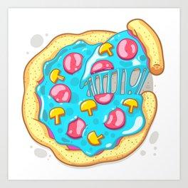 Blue Pizza Art Print