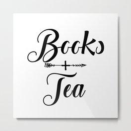 Books + Tea Metal Print