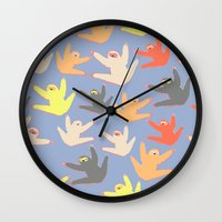 sloths Wall Clocks featuring Print with sloths by Darish