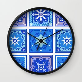 Talavera Mexican Tile – Blue Palette Wall Clock