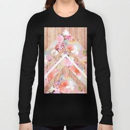 Vintage floral watercolor rustic brown wood geometric triangles Long Sleeve T-shirt