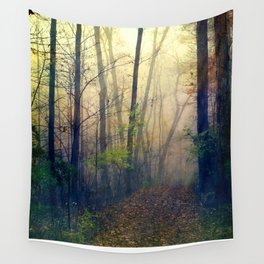 Wandering in a Foggy Woodland Wall Tapestry