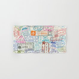 Vintage World Map with Passport Stamps Hand & Bath Towel