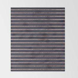 Elegant Chic Rose Gold Stripes and Navy Blue Throw Blanket
