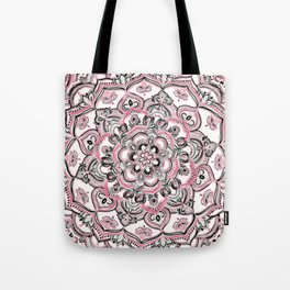 Magical Mandala in Monochrome + Pink Tote Bag