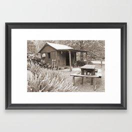 Old Style Living Sepia Framed Art Print