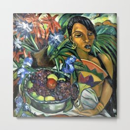African American Masterpiece Still Life with African Woman by I. Stern Metal Print