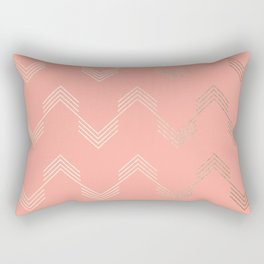 Simply Deconstructed Chevron White Gold Sands on Salmon Pink Rectangular Pillow