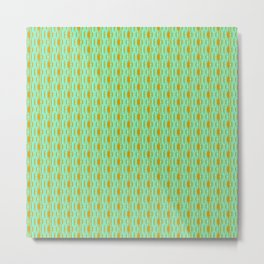 Copper Lines on Turquoise Mint Green Tether Dotted Country Western Abstract Design Pattern Metal Print