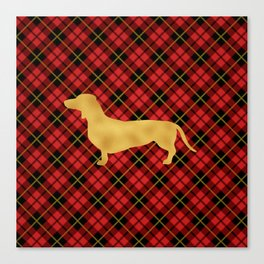 Red Plaid Dachshund Canvas Print