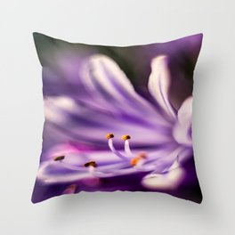 Lily of the Nile Purple Close-up Throw Pillow