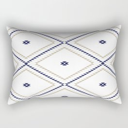 Navajo Pattern - Tan / Navy / White Rectangular Pillow