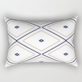 Navajo Pattern - Tan / Navy / White Rectangular Pillow