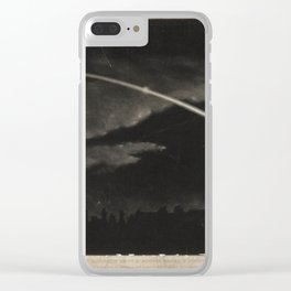Wood engraving of a comet in the night sky (c. 1860) Clear iPhone Case