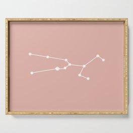 Taurus Zodiac Constellation - Pink Rose Serving Tray