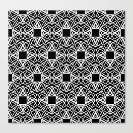 geo lace - white on black Canvas Print