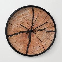 Tree Rings Rustic Cabin Lodge Raw Wood Wall Clock