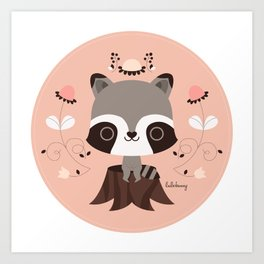 Spring Day Raccoon Art Print