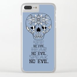 Cute Skull See no Evil Clear iPhone Case