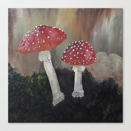 Magical Toadstools, mushrooms, oil painting by Luna Smith, LuArt Gallery Canvas Print