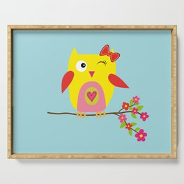 Cute Yellow Owl - Pink Flowers Illustration Serving Tray