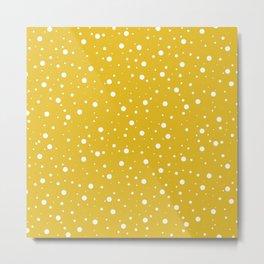 Polka Dots (mustard yellow/white) Metal Print