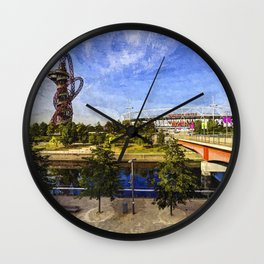 West Ham Olympic Stadium And The Arcelormittal Orbit Art Wall Clock