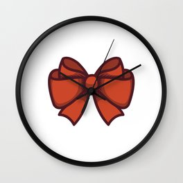 Large Red Gift Bow Wall Clock