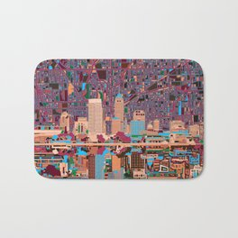 indianapolis city skyline purple Bath Mat