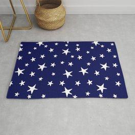 Stars - White on Dark Royal Blue Rug