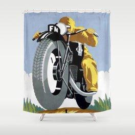 1925 FN Motorcycle Fabrique Nationale de Herstal Vintage Poster  Shower Curtain