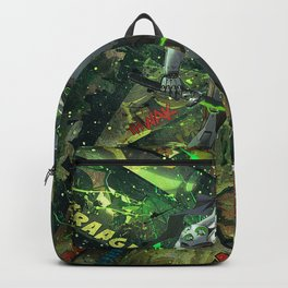 Genji Vibrant Green Samurai Comic Art Collage Backpack