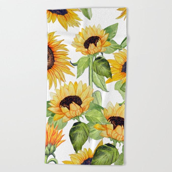 Sunflower art, watercolor floral Beach Towel