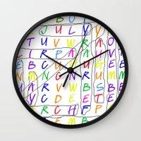 calendar Wall Clocks featuring Calendar Fun by Rissarae Designs