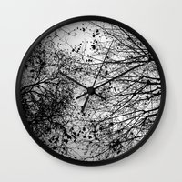 leaves Wall Clocks featuring Branches & Leaves by David Bastidas