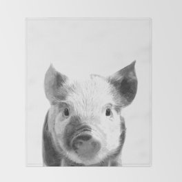 Black and white pig portrait Throw Blanket