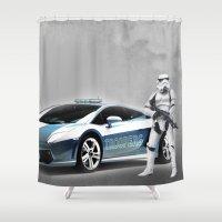 lamborghini Shower Curtains featuring Lamborghini Troopers by Vin Zzep