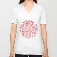 calligraphy V-neck T-shirts featuring Calligraphy: Love  by Joumana Medlej