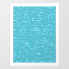 Hand drawn vector cloud illustration Art Print