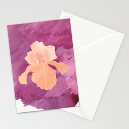 Peach Iris Watercolor Print Stationery Cards