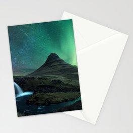 Photos Kirkjufell Stars Iceland Volcano Aurora Nature mountain Waterfalls Sky Night volcanoes polar light northern light Mountains night time Stationery Cards
