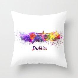 Dublin skyline in watercolor Throw Pillow