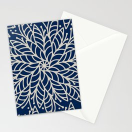 Modern navy blue ivory hand painted floral mandala Stationery Cards