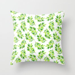 Watercolor Greenery Throw Pillow