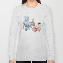 The pitbull pug and chi sat down for some tea Long Sleeve T-shirt
